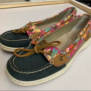 Like New Sperry Floral Boat Shoes